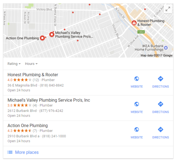 Burbank plumber map results